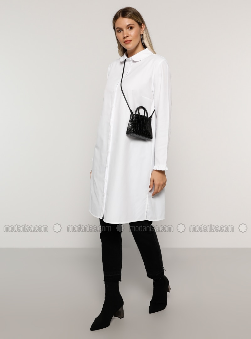White - Round Collar -  - Plus Size Tunic