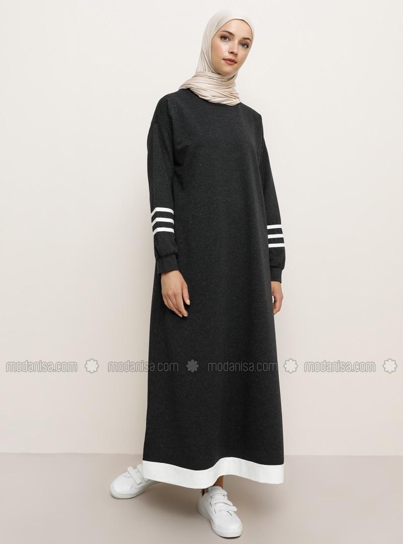 Anthracite - Crew neck - Unlined -  - Dress