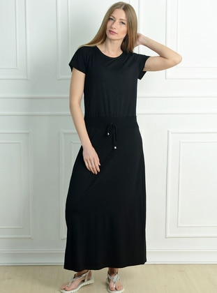 Black - Crew neck - Unlined - Acrylic - Dress