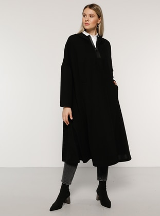Black - Plus Size Poncho - Alia