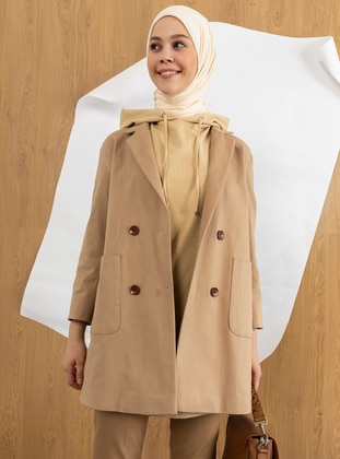 Cream - Plain - Coolmax - Shawl - Şal