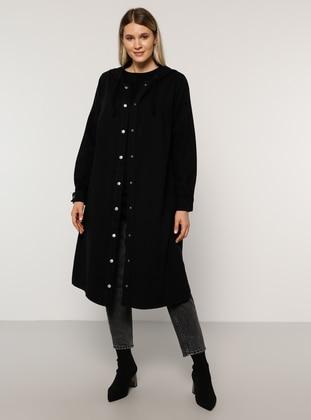 Black - Unlined - Denim -  - Plus Size Coat