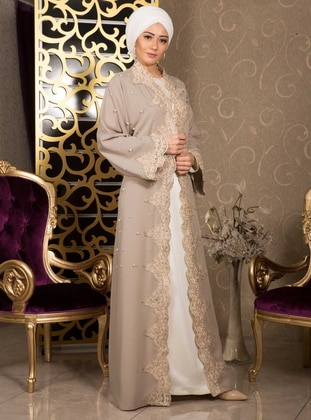Cream - Unlined - V neck Collar - Evening Abaya