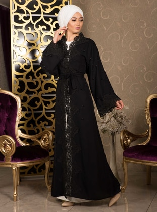 Black - Unlined - V neck Collar - Evening Abaya