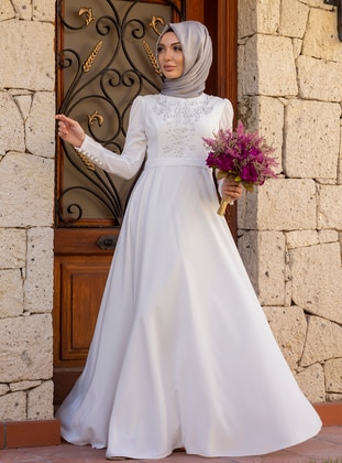 White - Unlined - Crew neck - Crepe - Muslim Evening Dress