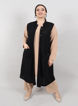 Black - Plus Size Vest