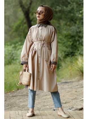 Beige - Trench Coat - GİZCE