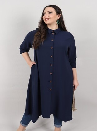 Navy Blue - Plus Size Coat