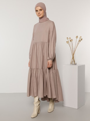 Pink - Crew neck - Unlined -  - Dress
