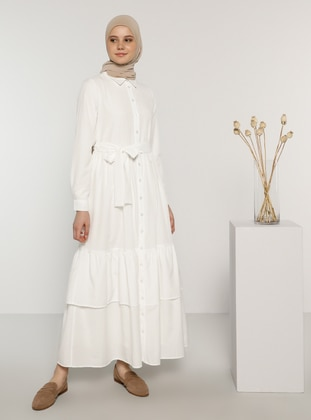 White - Point Collar - Unlined -  - Dress