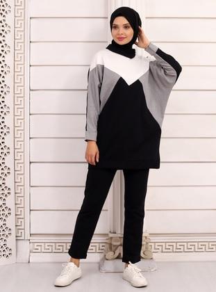 White - Black - Unlined - Suit - Por La Cara