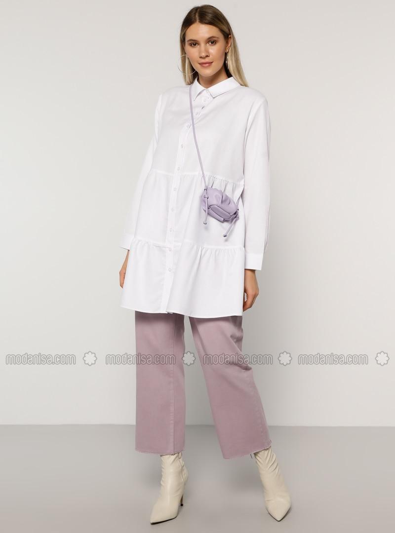 Lilac - Denim -  - Plus Size Pants