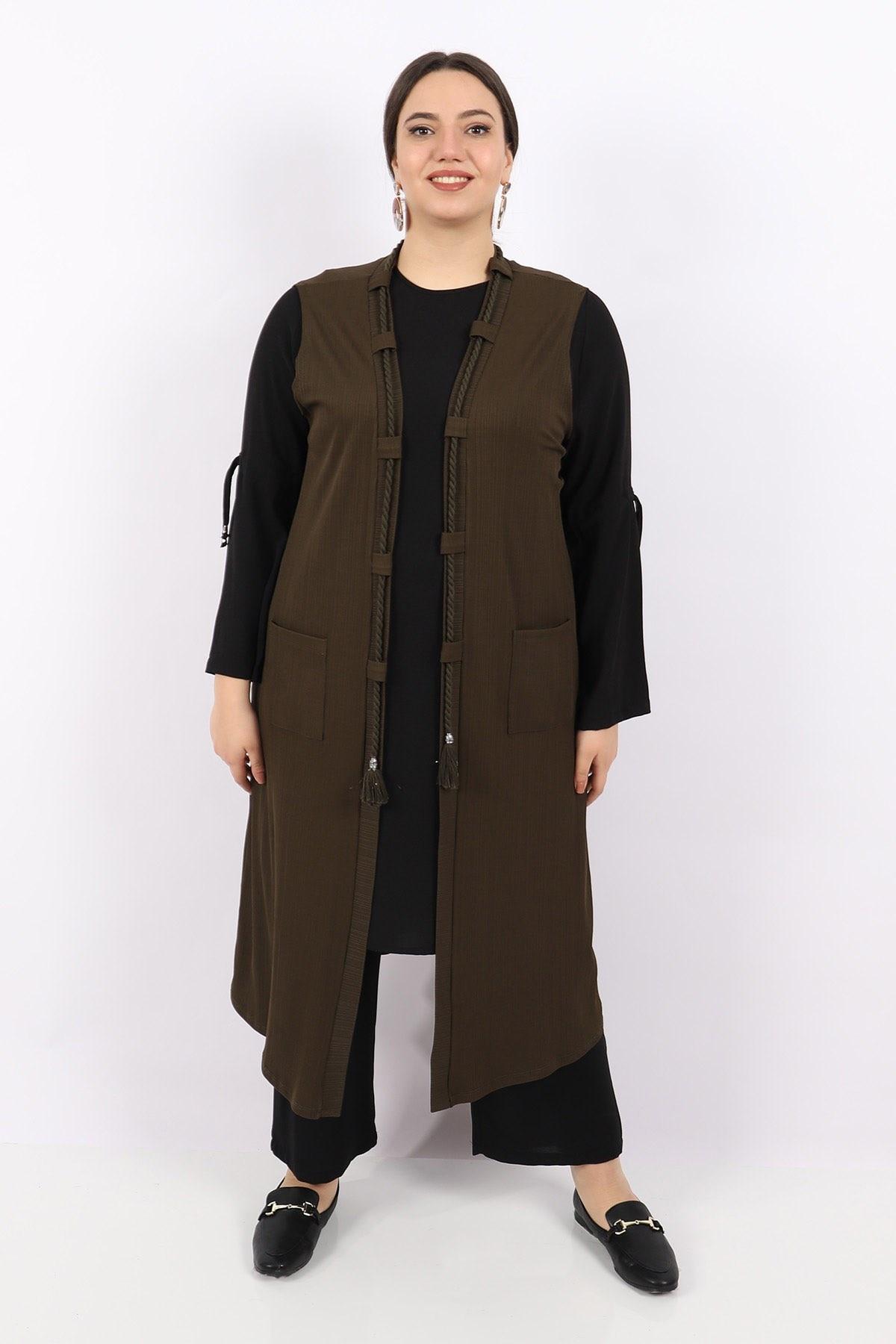 Plus Size Vest KadoModa Khaki
