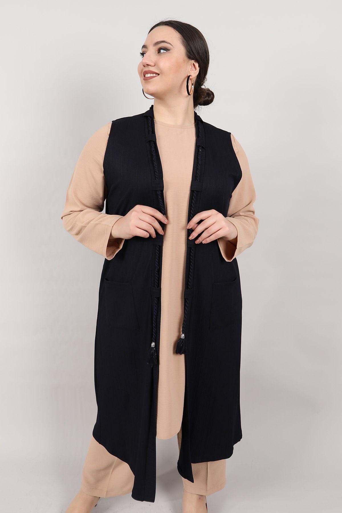 Plus Size Vest KadoModa Navy Blue