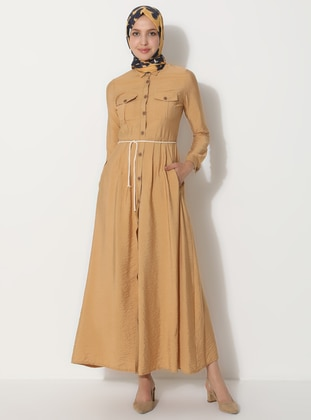 Camel - Point Collar - Unlined -  - Dress