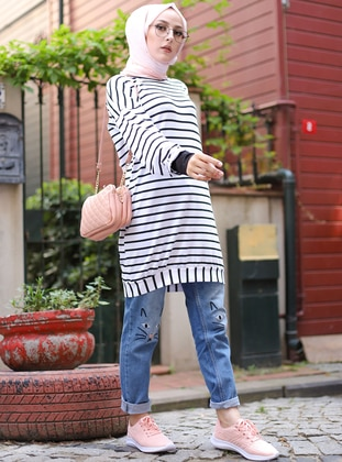 Ecru - Stripe - Crew neck - Viscose - Tunic