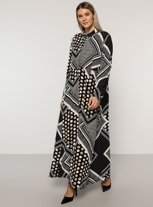 Black - Multi - Unlined - Point Collar -  - Plus Size Dress
