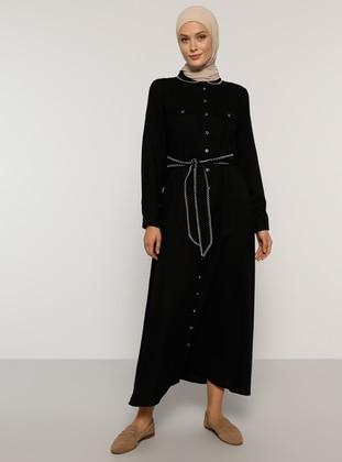 Black - Round Collar - Unlined - - Dress