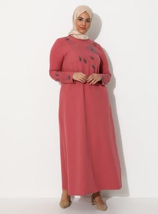Dusty Rose - Unlined - Crew neck - Plus Size Dress