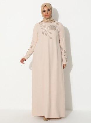 Cream - Unlined - Crew neck - Plus Size Dress