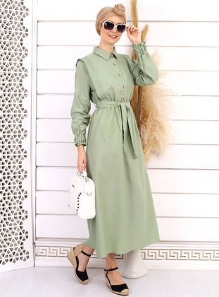 Green Almond - Point Collar - Unlined -  - Dress
