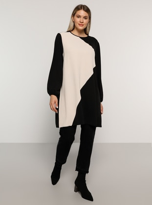Black - Stone - Crew neck - Plus Size Tunic