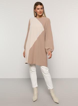Lilac - Stone - Crew neck - Plus Size Tunic