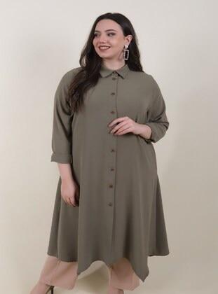 Khaki - Plus Size Coat