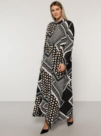 Black - Multi - Unlined - Point Collar -  - Plus Size Dress