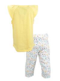 Multi - Crew neck -  - Yellow - Girls` Suit