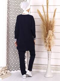 White - Navy Blue - Unlined - Suit
