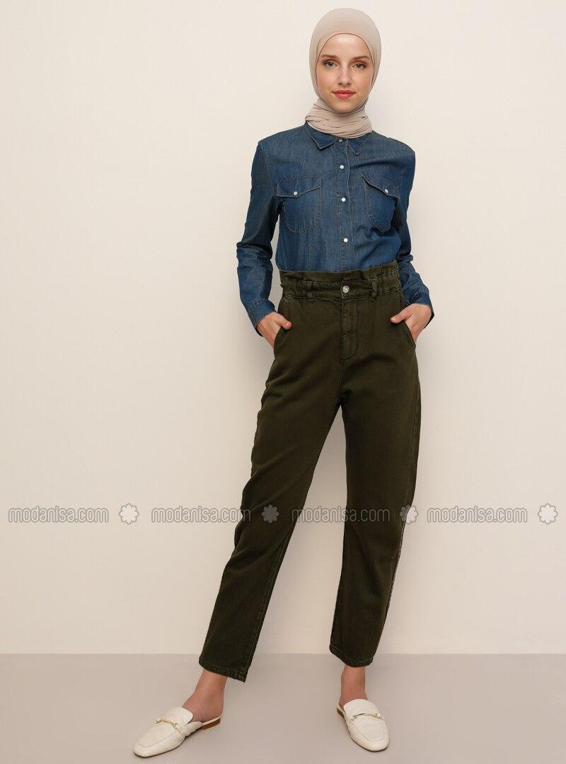 Green - Denim -  - Pants