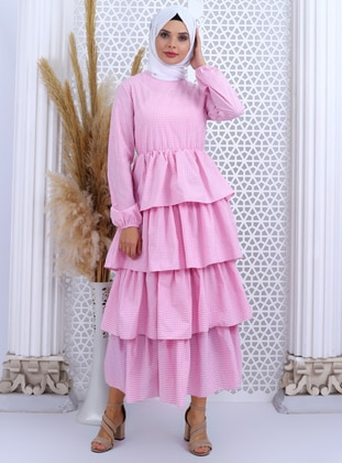 Pink - Checkered - Crew neck - Unlined -  - Dress