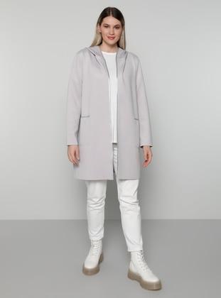Gray - Unlined - Plus Size Coat