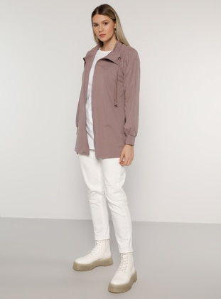 Lilac - Unlined - Polo neck -  - Plus Size Coat
