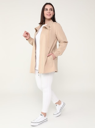 Stone - Unlined - Polo neck - - Plus Size Coat