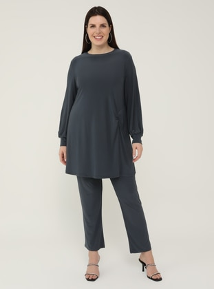 Gray - Olive Green - Crew neck - Unlined - Plus Size Suit