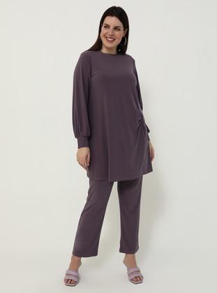 Lilac - Crew neck - Unlined - Plus Size Suit