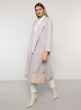 Gray - Unlined - Shawl Collar - Plus Size Coat