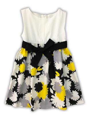 Floral - Crew neck -  - White - Girls` Dress