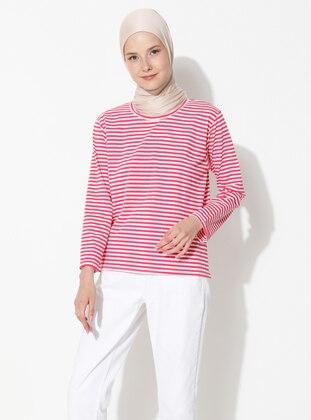 Maroon - Stripe - Crew neck -  - Blouses