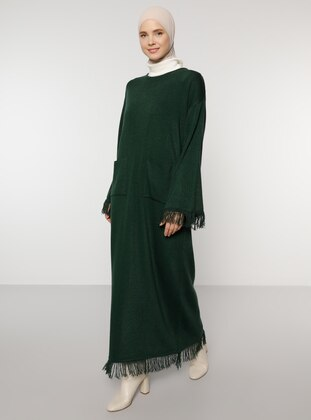 Green - Unlined - Crew neck - Acrylic - - Knit Dresses