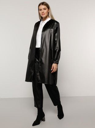 Black - Unlined - Plus Size Jacket - Alia