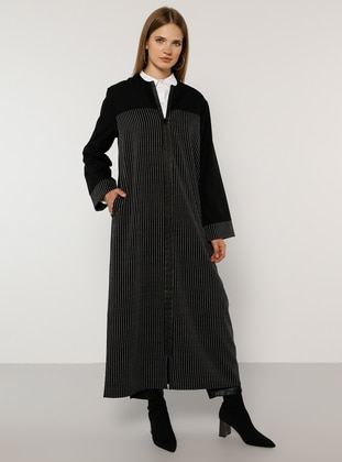 Black - Stripe - Unlined - Crew neck - Plus Size Coat
