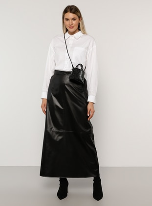 Black - Unlined - Plus Size Skirt - Alia