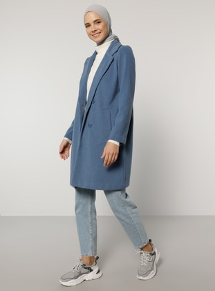 Blue - Unlined - Shawl Collar - Coat