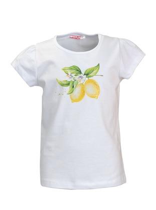 Multi - Crew neck -  - White - Girls` T-Shirt