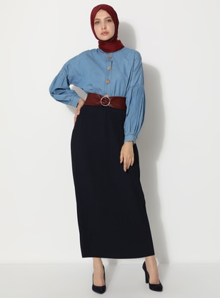 Navy Blue - Unlined -  - Skirt