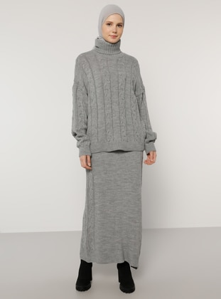 Gray - Unlined - Acrylic - Viscose - Suit