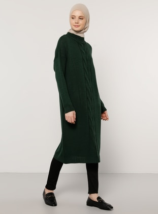Green - Crew neck - Unlined - Knit Tunics